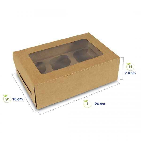 กล่องกระดาษคราฟท์+แผ่นช่องใส่คัพเค้ก-6-ถ้วย+ไดคัท