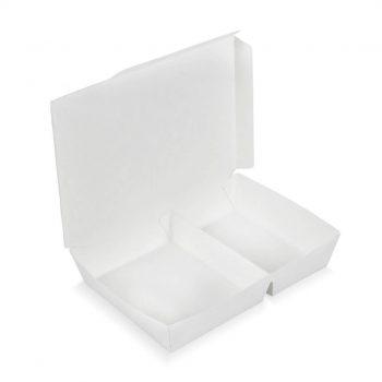กล่องกระดาษใส่อาหาร 2 ช่อง สีขาว3