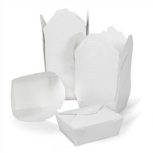 กล่องกระดาษใส่อาหาร To go ทรงกว้าง หูเกี่ยว 45 ออนซ์