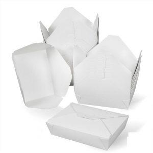 กล่องกระดาษใส่อาหาร To go ทรงกว้าง หูเกี่ยว 49 ออนซ์