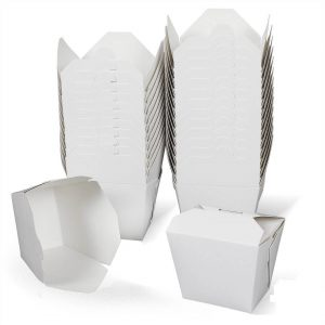 กล่องกระดาษใส่อาหาร To go ทรงสูง หูเกี่ยว 32 ออนซ์