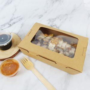 กล่องอาหาร กล่องมีช่อง กระดาษคราฟท์ มีหน้าต่าง 1200 ml2