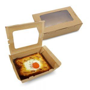 กล่องอาหาร กล่องมีช่อง กระดาษคราฟท์ มีหน้าต่าง 900 ml
