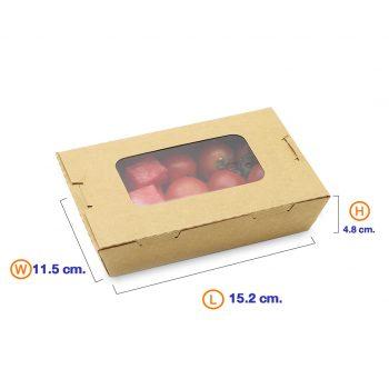กล่องอาหาร กล่องมีช่อง กระดาษคราฟท์ มีหน้าต่าง 900 ml dimension