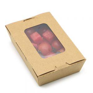 กล่องอาหาร กล่องมีช่อง กระดาษคราฟท์ มีหน้าต่าง 900 ml4
