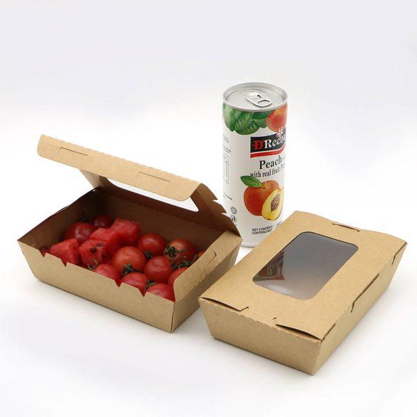 กล่องอาหาร กล่องมีช่อง กระดาษคราฟท์ มีหน้าต่าง 900 ml5