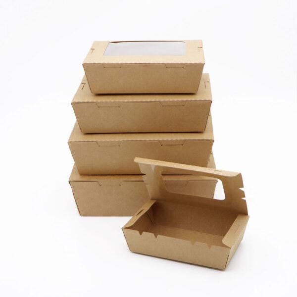 กล่องอาหาร กล่องมีช่อง กระดาษคราฟท์ มีหน้าต่าง 900 ml6
