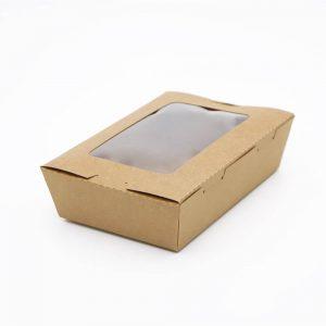 กล่องอาหาร กล่องมีช่อง กระดาษคราฟท์ มีหน้าต่าง 900 ml7
