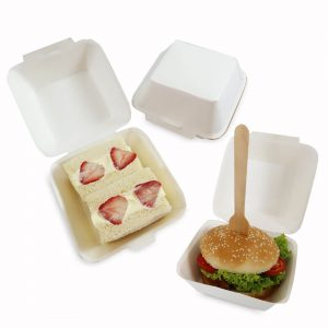 กล่องเบอร์เกอร์ แซนวิช สีขาว แบบ 1