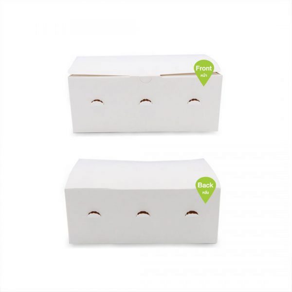 กล่องไก่ทอด กล่องใส่ขนม สีขาว (Size S)หน้าหลัง