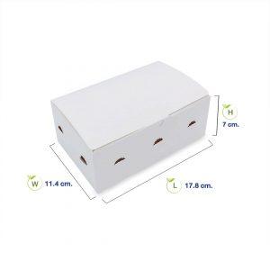 กล่องไก่ทอด กล่องใส่ขนม สีขาว (Size S) dimension