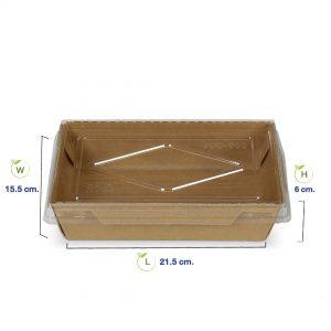 กล่องไฮบริด-กล่องกระดาษคราฟท์ใส่อาหาร1600-dimension