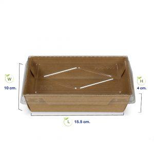 กล่องไฮบริด-กล่องกระดาษคราฟท์ใส่อาหาร500ml-dimension