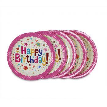 จานกระดาษ-สีชมพูลายจุด-Happy-birthday-2