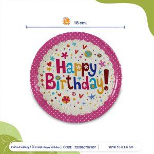 จานกระดาษ-สีชมพูลายจุด-Happy-birthday
