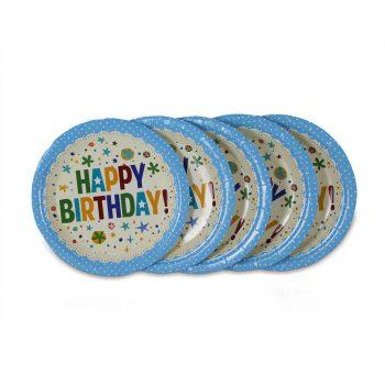 จานกระดาษ-สีฟ้าลายจุด-Happy-birthday-2