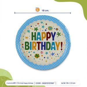 จานกระดาษ-สีฟ้าลายจุด-Happy-birthday