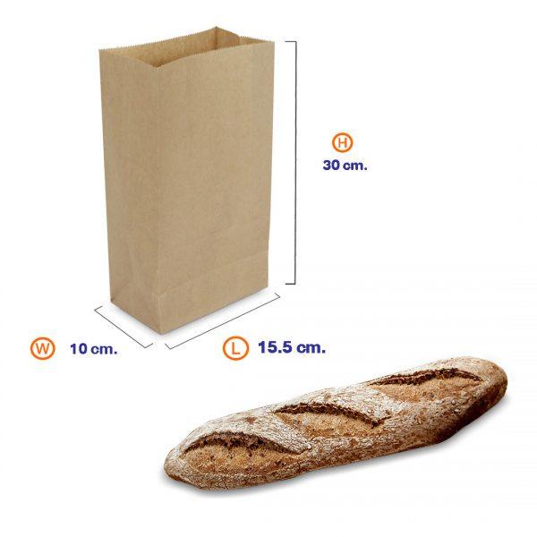 ถุงกระดาษคราฟท์สีน้ำตาล 15.5x10x30 cm dimension