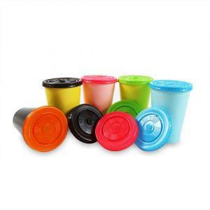 ฝาพลาสติกเรียบ(PS) สีน้ำตาลเข้ม ใช้กับแก้ว 16,22 ออนซ์-5