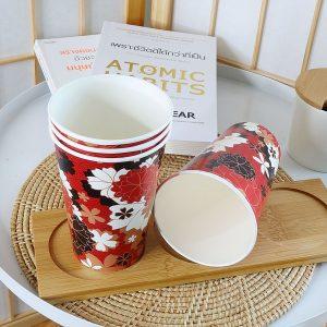 แก้วกระดาษลายดอกไม้กราฟฟิก-ขนาด-16-ออนซ์-(แก้วเย็น)