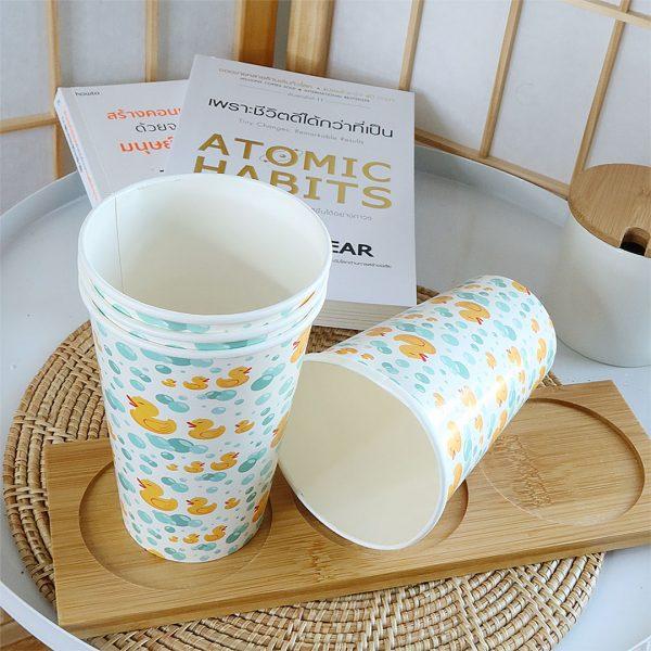 แก้วกระดาษลายเป็ดขนาด16-ออนซ์-(แก้วเย็น)