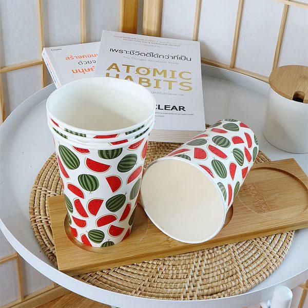 แก้วกระดาษลายแตงโมขนาด-16-ออนซ์-(แก้วเย็น)
