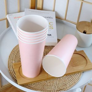 แก้วกระดาษสีชมพูพาสเทล22-ออนซ์-(ไม่รวมฝา)