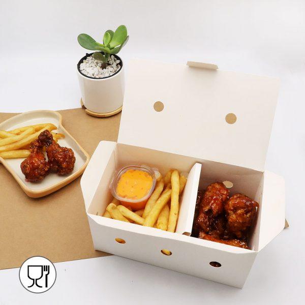 กล่องไก่ทอด สีขาว บรรจุ 13-15 ชิ้น (Size M) ขนาดเดียวกับ กล่องไก่ทอดบอนชอน