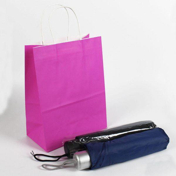 ถุงกระดาษคราฟท์มีหูหิ้ว สีชมพูบานเย็น-2