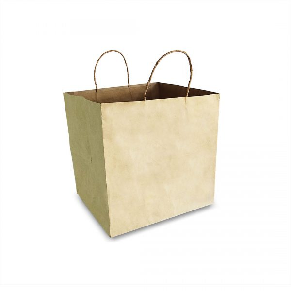 ถุงกระดาษคราฟท์ (Size L) หูหิ้วเกลียว 28x26x28 cm ใส่กล่องเค้ก 2 ปอนต์-2