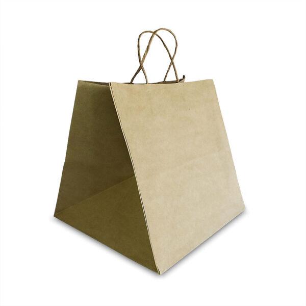 ถุงกระดาษคราฟท์ (Size L) หูหิ้วเกลียว 31x29x30 cm ใส่กล่องเค้ก 3 ปอนต์-3