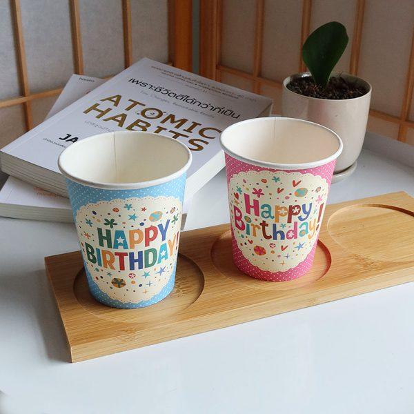 แก้วกระดาษสีชมพู-8-ออนซ์-ลายจุด-Happy-birthday