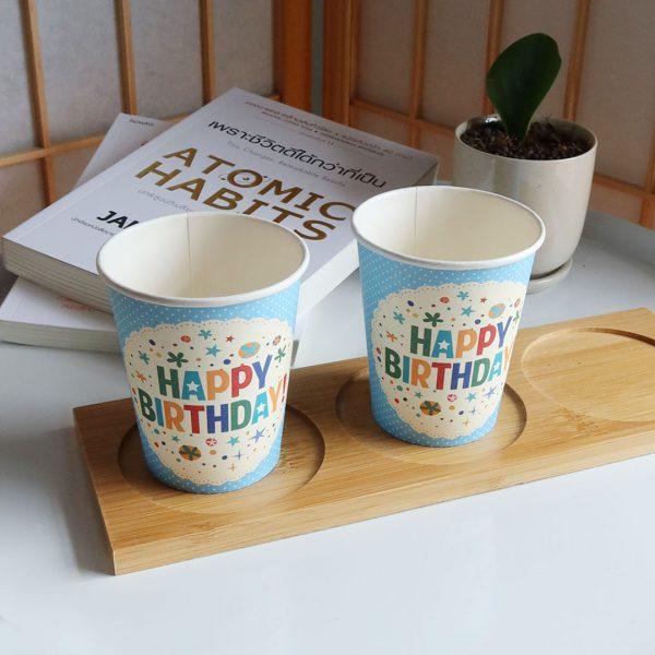 แก้วกระดาษสีฟ้า-8-ออนซ์-ลายจุด-Happy-Birthday-2